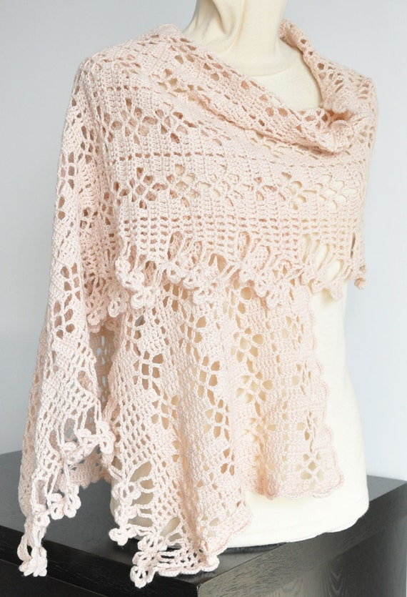 SOFT LACE  -  Champagne- Cashmere Blend Yarn Hand Crochet Ob Shawl/Scarf/wrap