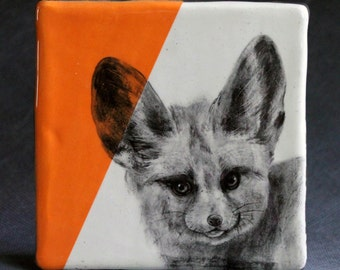 Hand Painted Fennec Fox Portrait Wall Tile Orange