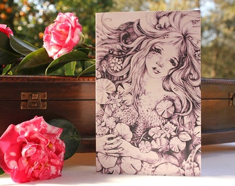 Fairy Tale Pencil Drawing Art Card | Sorrow Star Water Nymph Greeting Card 5 x 7 Print of Original Drawing Fantasy Art