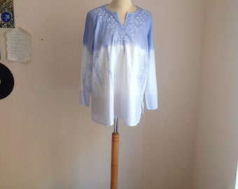 80s White Dyed Tunic w/ Sequin Embroidered Boho Top Hippie Gypsy Large Medium