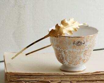 Gold Oak Leaf Headband Garden Wedding Romantic Bridal Woodland Garden Flower Girl Bridesmaid