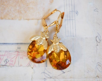 Amber Crystal Honey BEE Earrings Autumn Wedding BRIDE Citrine Gold Nature