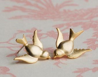 GOLD BIRD EARRINGS Post Earrings Golden Swallow Woodland Bird Wedding