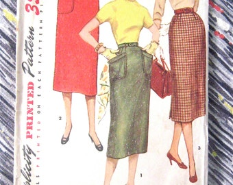 1950s Simplicity 1229 Skirt Pattern  Waist 26  inches