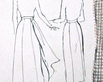 1950s Side Drape Skirt Vintage Butterick 4996 Sewing Pattern  Waist 26 inches