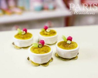 Crème Brûlée - French Dessert in 12th Scale - Handmade Dollhouse Miniature Food