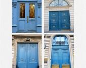 Paris Photography, Blue Doors Print Set, Paris Door Prints, Paris Door Note Cards, Paris Blue Doors, Paris Doors Photos, Blue Doors in Paris