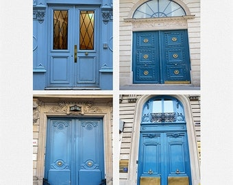 Paris Photography, Blue Doors Print Set, Paris Door Prints, Paris Door Note Cards, Paris Blue Doors, Paris Doors Photos, Blue Doors in Paris