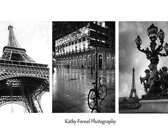 Paris Black and White Photography, Paris Eiffel Tower Black and White Print Set, Paris Bicycle, Paris Black White Photography Print Set