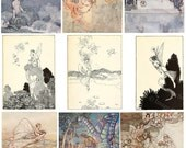 Fairy Illustrations From Shakespeares Tales Digital Collage Sheet Victorian Faries, Instant  Download Printables