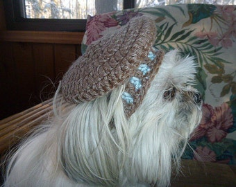 FRENCH BERET dog pet hat - 2 to 20 lb dog or cat - NEED measurement-many colors avail