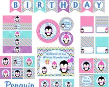 Penguin Party, Penguin Party Package, Winter Onederland Party, Winter Wonderland Party, Girl Penguin Party, Printable,  INSTANT DOWNLOAD