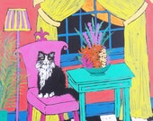 Joey on Chair in the Living Room - Orginal acrylic painting