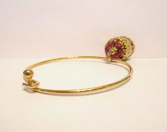 Vintage Tension Bracelet With Pink Rhinestone Charm DEADSTOCK