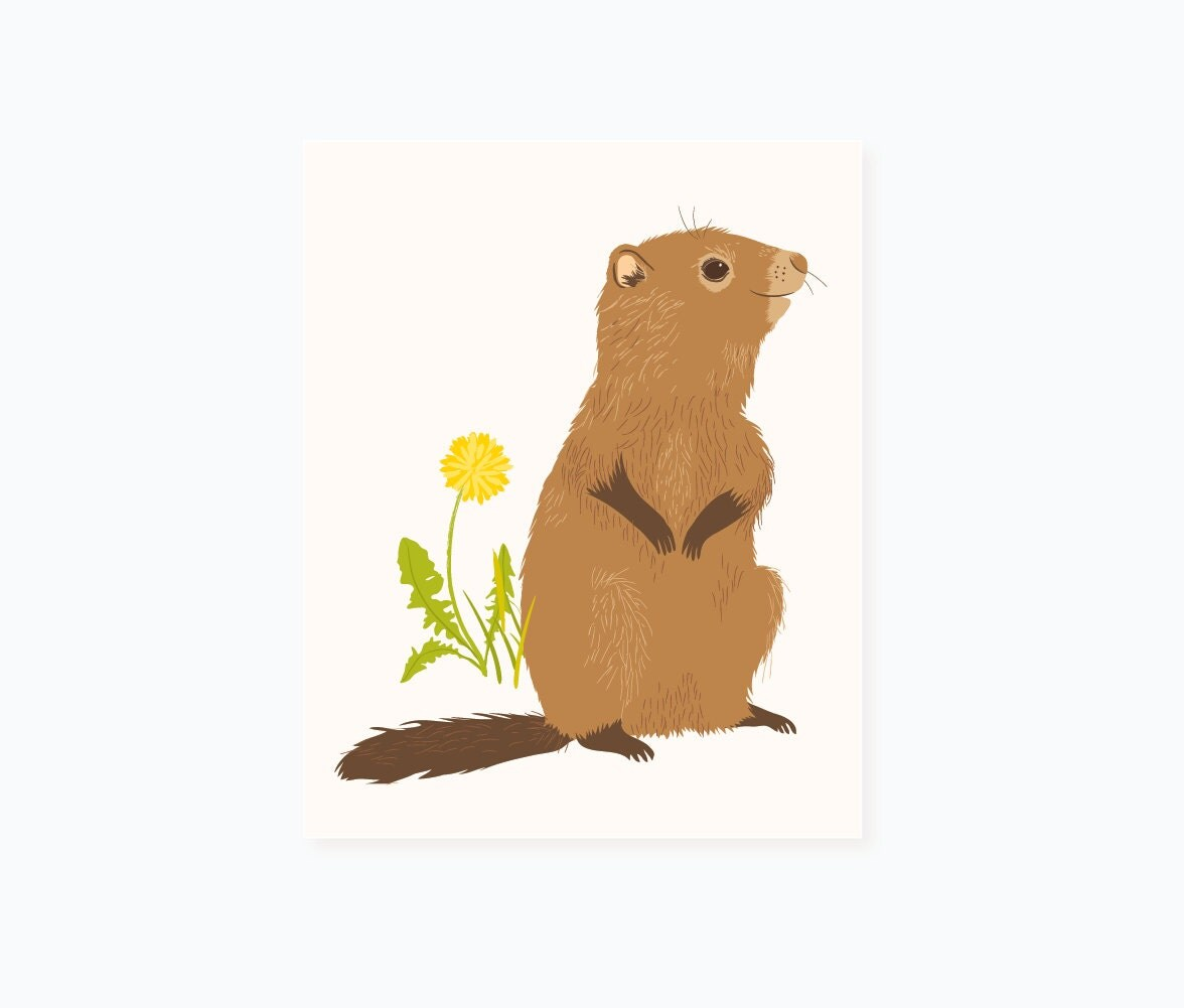 Groundhog wall art woodland art for kids by seaurchinstudio