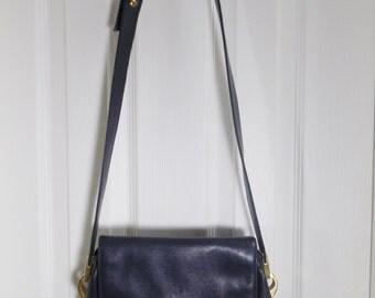 Vintage NAVY Blue Purse - 1980s Midnight Blue Handbag -