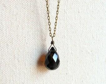 Smoky quartz necklace black smokey quartz crystal necklace protection amulet everyday necklace minimalist necklace mens necklace