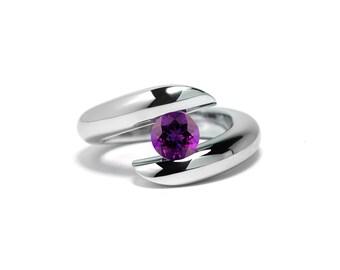 Taormina Amethyst Ring Tension Set Stainless Steel
