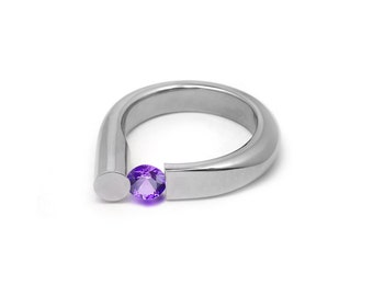 Amethyst Ring Tension Set in Stainless Steel