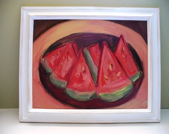 Watermelon Painting Small Framed Art White Distressed Frame Shabby Chic Art
