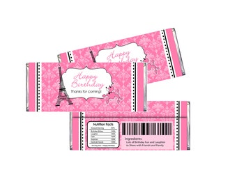 Paris Theme Birthday Candy Bar Wrappers digital file