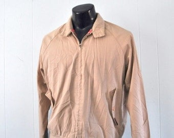 80s Beige Coat by Windbreaker Light Jacket Plaid Large