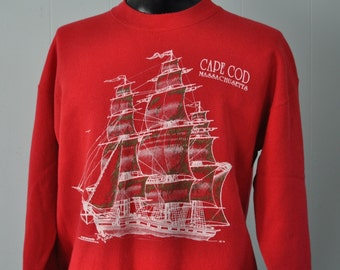 Vintage Sweatshirt Cape Cod Red Ships Nautical Sailing Tall Ship Boat