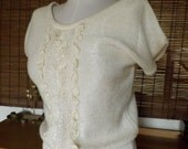 Vintage 80s Cream Pearl and ribbon short sleeve hipster sweater M Free Shipping