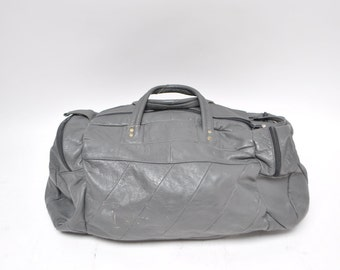 vintage leather duffle bag duffel vintage 1980s leather CARRY-ON tote shoulder luggage bag overnight