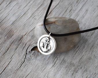 Men's Anchor Necklace - Men's Nautical Pendant -  Sail Anchor Adjustable Leather Cord -  Men's Leather Pendant - Unisex Eco Friendly Silver