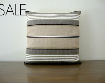 Brown, White, Tan, Taupe and Olive Striped Pillow Cover 20x20 inch (51 cm)