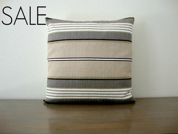 SALE - 20% off! Brown, White, Tan, Taupe and Olive Striped Pillow Cover 20x20 inch (51 cm)