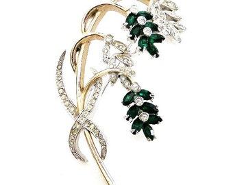 Reja Sterling Green Nodding Flower Brooch