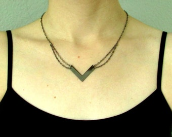 "Gunmental Chevron Necklace, Black Metal Bar Necklace, Minimalist Design, Chevron Pendant, Last One, ""Protect"""