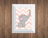 "Baby Pink Elephant 8"" X10"" Print"