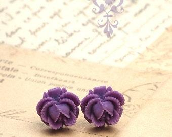 Mini Purple Rose Studs, Ruffled Rose Flower Earrings, Bohemian, Titanium or Stainless Steel Posts