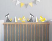 Yellow Nursery, Fox Wall Decal, Nursery Wall Decal, Yellow Fox Decal, Woodland Wall Decal, Kids Decals. Foxes Children Wall Decal