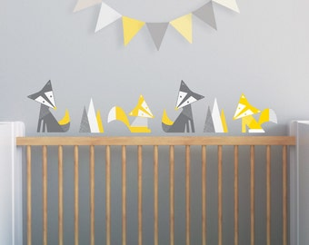 Yellow Nursery, Fox Wall Decal, Nursery Wall Decal, Yellow Fox Decal, Woodland Wall Decal, Kids Decals. Foxes Children Wall Decal