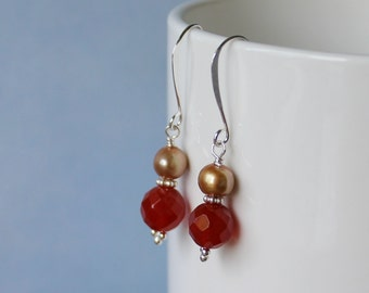 Gold fresh water pearls earrings with Agate gemstone beads, sterling silver