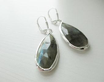 Luxurious Labradorite Gemstone Sterling Silver Drop Earrings