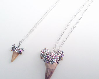 Small Shark Tooth Necklace, Bedazzled with with Swarovski Crystals