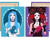 """LIMITED EDITION: 12x16"""" Alice and Queen Canvas Reproduction Set of 2"""