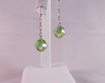 Swarovski Aurora Borealis Faceted Peridot Crystal Dangle Earrings on Sterling Silver Chain and French Ear Wires, DE16