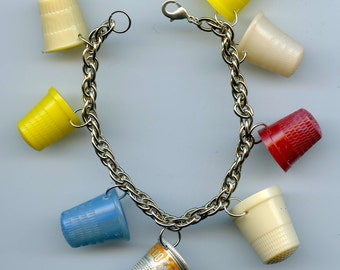 Retro vintage sewing thimbles charm bracelet from recycled items
