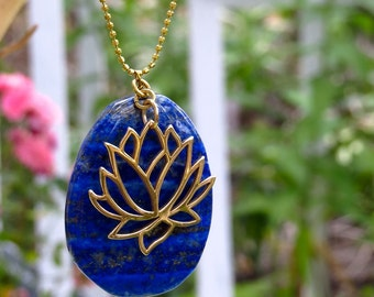Lotus Charm Necklace, Lapis, Yoga Jewelry, Chakra Jewelry, Bronze