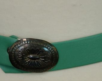 Vintage Teal Fake Leather Belt, 1970s