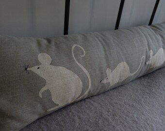 hand printed  reversible grey mouse family bolster/ excluder
