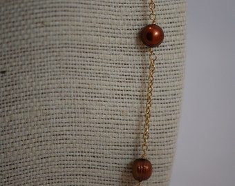 Simple bronze fresh water pearl necklace. Wire wrapped, hand wrapped, Gold Plated chain, June birthstone, elegant, station necklace.