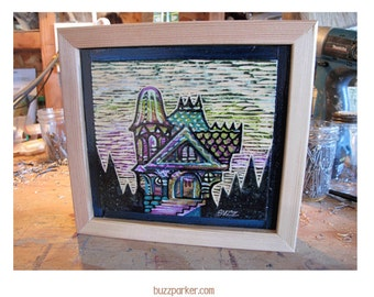 Candy Mansion, Original Carved Wood Painting -Home Tree Home- by Buzz Parker