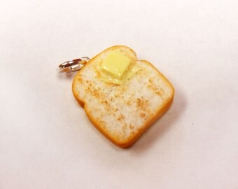 polymer clay buttered toast charm